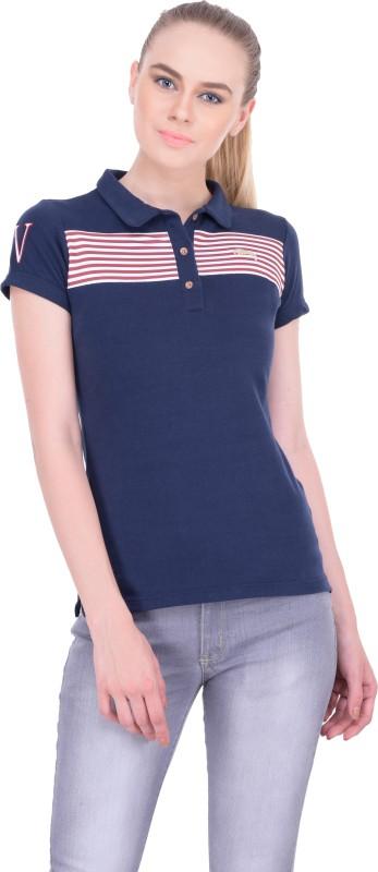JumpUSA Solid Women's Polo Neck Blue T-Shirt