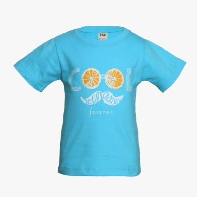 Tales & Stories Graphic Print Boy's Round Neck Blue T-Shirt