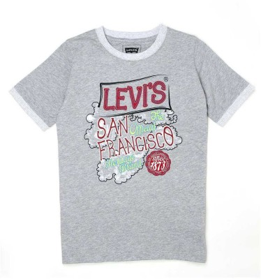 Levis Kids Graphic Print Boy's Round Neck Grey T-Shirt