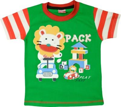 Myfaa Printed Baby Boy's Round Neck Green T-Shirt