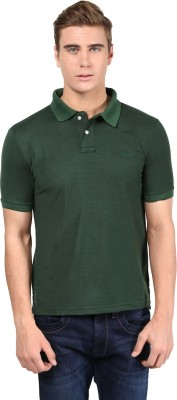 Mine7 Solid Men's Polo Neck Green T-Shirt