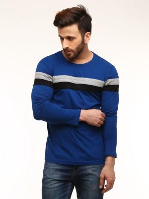 Gritstones Solid Men's Round Neck Blue T-Shirt