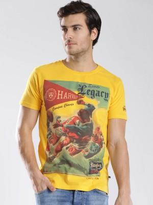 Harvard Printed Men's Round Neck Yellow T-Shirt