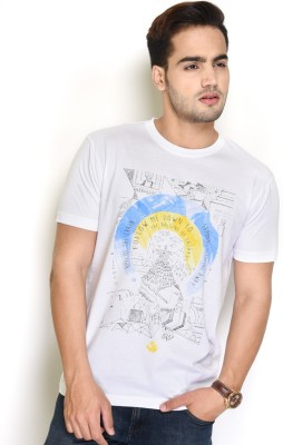 The Glu Affair Printed Men's Round Neck White T-Shirt