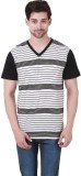 Cherymoya Striped Men's V-neck Black T-S...