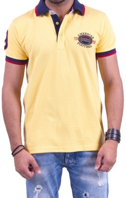 Cotton & Blends Solid Men's Polo Neck Yellow T-Shirt