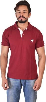 Kapeur Solid Men's Polo Neck Maroon T-Shirt