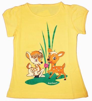 Stoat Cabin Graphic Print Girl's Round Neck Yellow T-Shirt