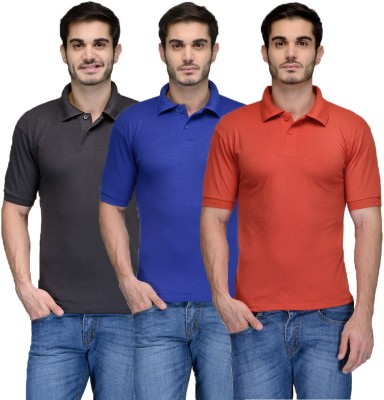 Feed Up Solid Men's Polo Neck Black, Blue, Red T-Shirt
