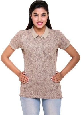 Colors & Blends Printed Women's Polo Neck Beige T-Shirt