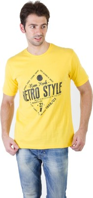 RICK AND MASCH Printed Men's Round Neck Yellow T-Shirt