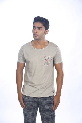 Fashnopolism Solid Men's Round Neck Grey T-Shirt