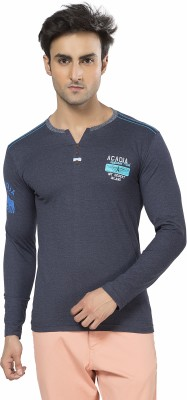 Purple Haze Printed Men's Henley Dark Blue T-Shirt
