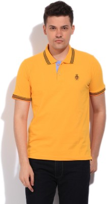 Fort Collins Solid Men's Polo Neck Yellow T-Shirt