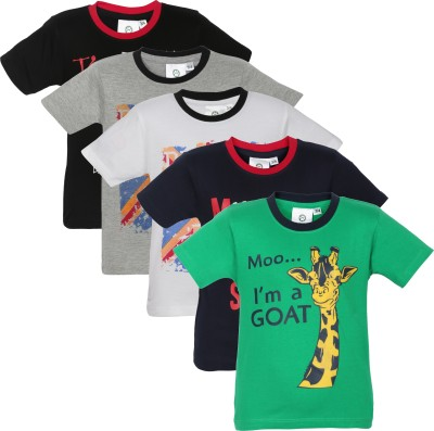 MamaMia Printed Boy's Round Neck Green, Black, Blue, White, Grey T-Shirt