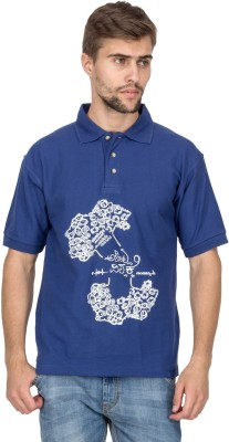 Aziteez Printed Men's Flap Collar Neck T-Shirt