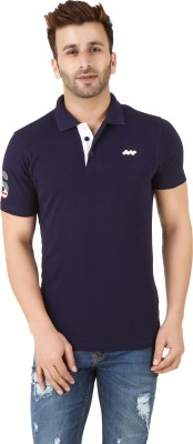 Spunk Solid Men's Polo Blue T-Shirt