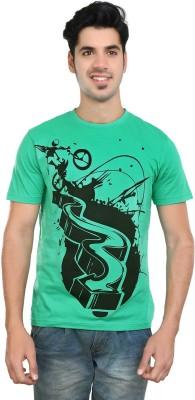 Algotton Printed Men,s Round Neck Green T-Shirt