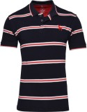 IND Classic Striped Men's Polo Neck Blac...