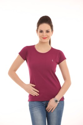 Ultrafit Solid Women's Round Neck Maroon T-Shirt