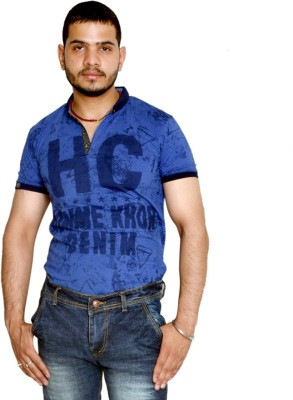 allrugget Printed Boy's Round Neck Dark Blue, Black T-Shirt