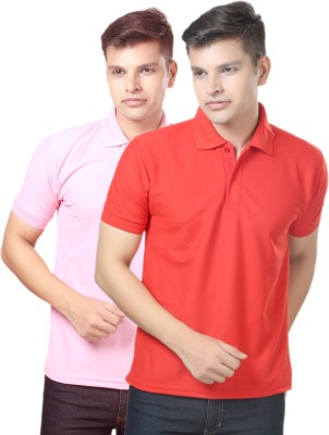 eSOUL Solid Men's Polo Neck Pink, Red T-Shirt