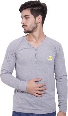 Jangoboy Solid Men's V-neck Grey T-Shirt