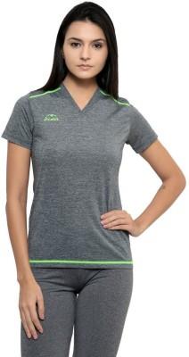 Dida Sportswear Solid Women's V-neck Grey, Green T-Shirt