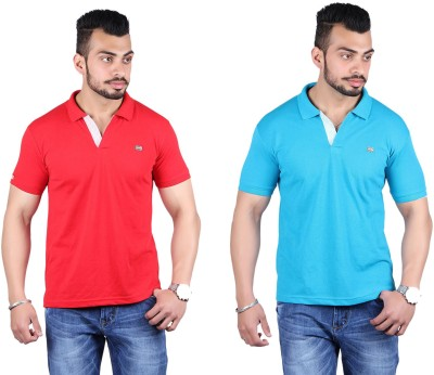 Shineway Solid Men's Polo Neck Red, Light Green T-Shirt