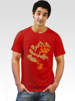 Incynk Printed Men's Round Neck Red T-Shirt