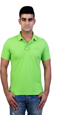 Bridge Solid Men's Polo Neck Green T-Shirt