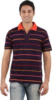Neoteric Striped Men's Polo Neck Purple T-Shirt