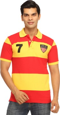 Rockhard Striped Men's Polo Neck Red T-Shirt
