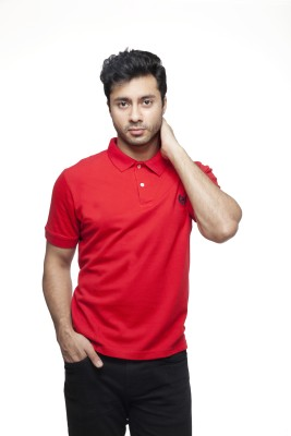 Peerage Solid Men's Polo Neck Red T-Shirt