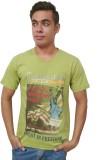 Port Blair Printed Men's V-neck Green T-...
