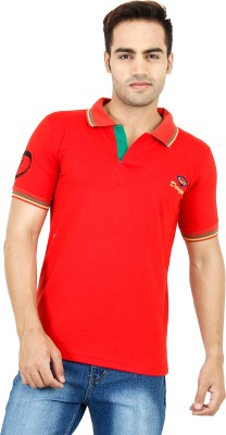 Denzo Solid Men's Polo Neck Red T-Shirt