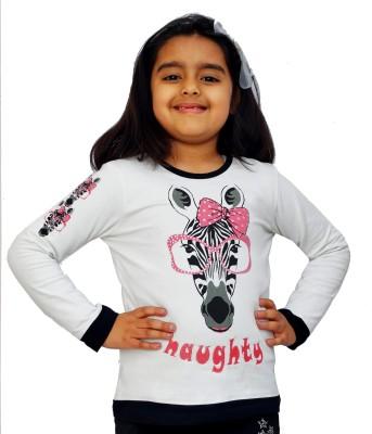 Naughty Ninos Animal Print Girl's Round Neck White T-Shirt