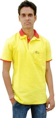 Khadi Natural Solid Men's Polo Neck Yellow, Red T-Shirt
