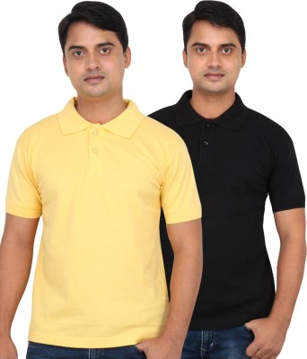 LOOX by Apoorti Solid Men's Polo Neck Black, Yellow T-Shirt