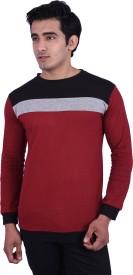 RAP FABRICS Solid Men's Round Neck Black, Maroon T-Shirt