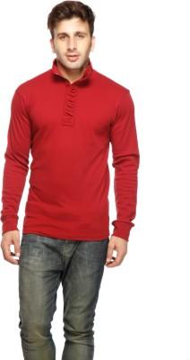 Gritstones Solid Men's Turtle Neck Maroon T-Shirt