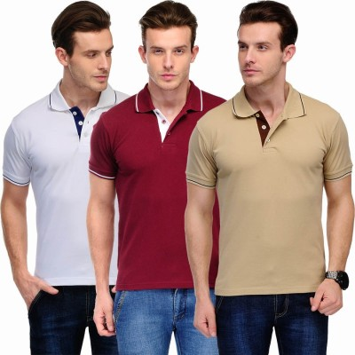 Scott International Solid Men's Polo White, Maroon, Beige T-Shirt