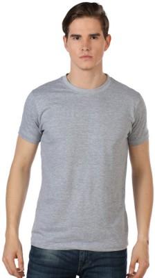 Shootr Solid Men's Round Neck Grey T-Shirt