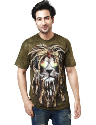 The Mountain Printed Men's Round Neck Dark Green T-Shirt