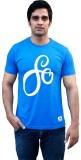 Aeltic Printed Men's Round Neck Blue T-S...