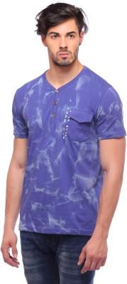 Blue Monkey Printed Men's Henley Blue T-Shirt