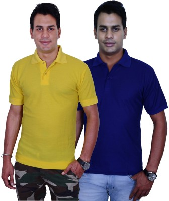 Blaze Solid Men's Polo Yellow, Blue T-Shirt