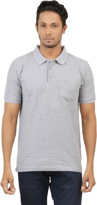 fashion4u Solid Men's Polo Neck Grey T-Shirt