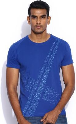 HRX Printed Men's Round Neck Blue T-Shirt
