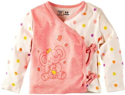 Mom & Me Printed Baby Girl's V-neck Pink T-Shirt